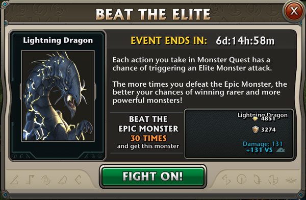 Boss Event : Lightning Dragon Epic Monster